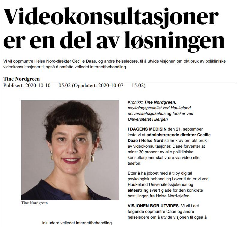 Faksimile fra Dagens Medisin 10.10.20